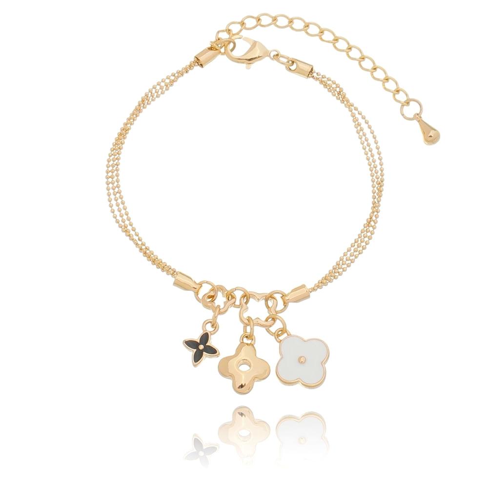 pulseira-fina-com-pingentes-trevo-esmaltados-e-liso-banhado-em-ouro-18k